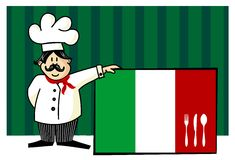 Chef of italian cuisine. Food, restaurant, menu design with cutlery silhouette on the country flag. Striped blue background. Vector available Royalty Free Stock Images