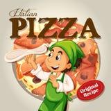 Chef and italian pizza Royalty Free Stock Photos