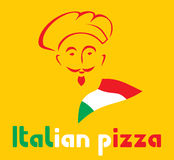 Chef and Italian pizza sign Stock Images