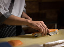 Chef Japanese cuisine in hotel or restaurant kitchen cooking, on Royalty Free Stock Image