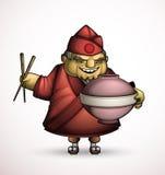 Chef japonais avec des plats d'une signature illustration de vecteur