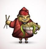 Chef japonais avec un bol de nourritures exotiques illustration libre de droits