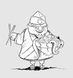 Chef japonais avec un bol de nourritures exotiques. Freehan illustration stock