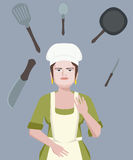 Chef juggling with cookware vector cartoon Royalty Free Stock Images