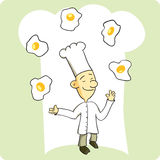 Chef Juggling Eggs. Former circus performer turned chef juggling eggs Royalty Free Stock Photography