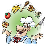 Chef juggling kitchen utensils and food items. Cartoon illustration of a chef juggling different food items and kitchen tools over his head stock illustration