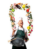 Chef juggling with vegetables Stock Image