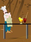 Chef and juice glasses Stock Photo