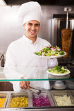 Chef with kebab at fastfood Stock Photo