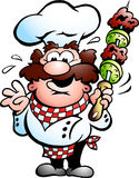 Chef with a kebab skewer. Handdrawn vector illustration of an Chef Stock Image