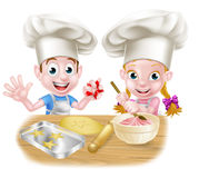 Chef Kids Baking de bande dessinée Image stock