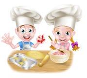 Chef Kids Baking de bande dessinée Image stock