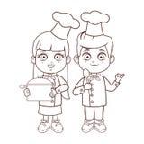 Chef kids cartoons brown lines. Chef kids with utensils frame cartoons vector illustration graphic design stock illustration