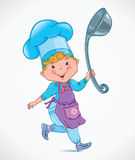 Chef kids with ladle Royalty Free Stock Photos