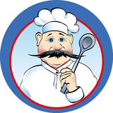 Chef in the kitchen. Head-cook with a spoon in hand Royalty Free Stock Photo