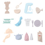 Chef and kitchen cartoon drawing icons. Set Stock Photos