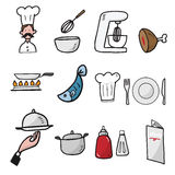 Chef and kitchen cartoon drawing icons. Set Royalty Free Stock Photography