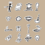 Chef and kitchen cartoon drawing paper cut royalty free illustration