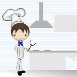 Chef and the kitchen /  illustration Stock Photos