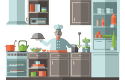 The chef is in the kitchen of the restaurant. A cook is standing by the stove and is preparing food. Vector illustration Royalty Free Stock Photos