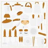 Chef and Kitchen Utensils Vector Set Stock Photos
