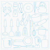 Chef and Kitchen Utensils Line Vector Set Royalty Free Stock Photography