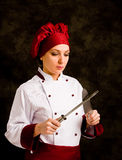 Chef with knife Stock Images