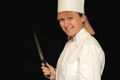 Chef with knife Royalty Free Stock Image