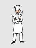 Chef with knife and dipper Royalty Free Stock Images