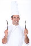 Chef a knife and fork stock image