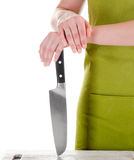 Chef with a knife stock images