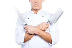 Chef with knifes. Royalty Free Stock Image