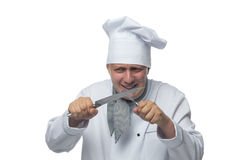 Chef knives in the hands rejoices Stock Images