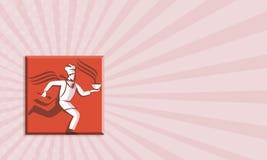 Chef-Koch-Baker Running With-Suppenschüssel Lizenzfreie Stockbilder
