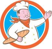 Chef-Koch-Holding Baguette Circle-Karikatur Stockbilder