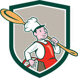 Chef-Koch-Marching Spoon Shield-Karikatur Lizenzfreies Stockbild