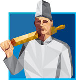 Chef-Koch Rolling Pin Low Polygon Stockfotografie