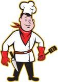 Chef-Koch Standing Holding Spatula Lizenzfreie Stockfotos