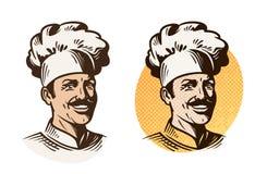 Chef-kok, bakker, koksymbool Het koken, restaurant of koffieembleem Vector illustratie Stock Foto's