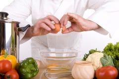 Chef-kok in beweging royalty-vrije stock foto