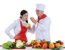 Chef-kok bij restaurant Royalty-vrije Stock Foto's