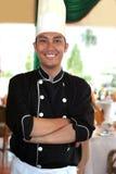 Chef-kok bij restaurant royalty-vrije stock afbeelding