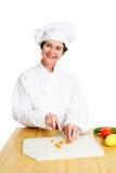 Chef-kok Chops Vegetables Stock Afbeeldingen