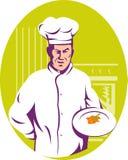 Chef-kok Cook die een maaltijd dient Stock Foto