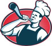 Chef-kok Cook Retro Baker Blowing Bullhorn vector illustratie