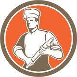 Chef-kok Cook Rolling Pin Circle Retro Stock Afbeelding