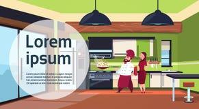 Chef-kok Cook Team Cooking In Modern Kitchen thuis vector illustratie
