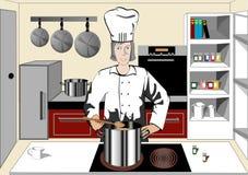 Chef-kok in de keuken Stock Afbeelding