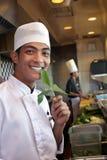 Chef-kok die in de keuken werkt Royalty-vrije Stock Afbeelding