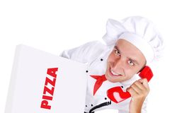 Chef-kok die de telefoonorde krijgen Stock Afbeeldingen